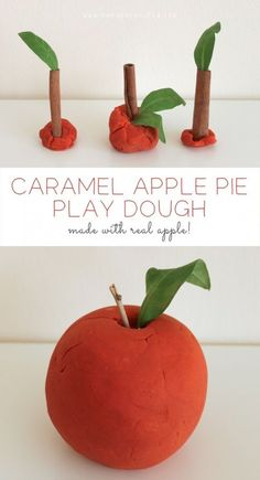 Caramel Apple Pie Play Dough - Made with REAL apples!! I could just eat it!