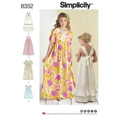 These child and girl dresses are perfect for any occasion. Short dress features short sleeves, ruffle V-neck and tie-back interest. Long dresses can be made with cold shoulder sleeves or sleeveless with back bow interest. Simplicity sewing pattern.