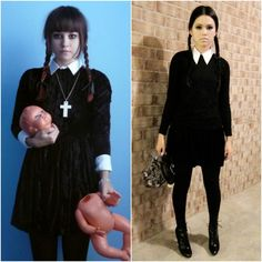 Adams Family Wednesday Addams Halloween Costume Ideas Fashion Blog Fancy Dress Outfits Halloween Makeup Clown, Looks Halloween, Unique Halloween Costumes, Halloween Dress, Halloween Cosplay, Halloween Party, Wednesday Adams Costume, Wednesday Addams Halloween Costume, Wednesday Addams Dress