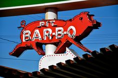 Pit Bar-B-Q at What-a-burger in Mooresville NC - love this little piggie neon sign!