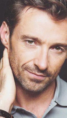Hugh Jackman...Love a scruffy beard on a man...so hot