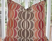 Decorative Designer Pillow Cover - 20 x 20 Red Orange Brown Geometric Pillow Cover- Throw Pillow
