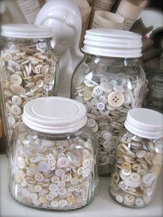 paint lids white    (....cr....love the white lids and a perfect place for stuff.....save those glass jars)