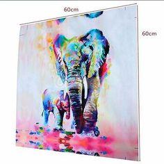 3pcs Cuadro Pintura de Pared Elefantes Moderna de Lona Arte Adorno Salón Oficina