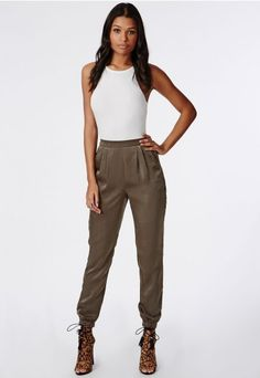 Missguided RACER NECK RIBBED BODYSUIT WHITE, Missguided FORMAL SILKY JOGGERS KHAKI, Missguided VALENTINA LACE UP TASSEL HEELED SANDALS LEOPARD, hair