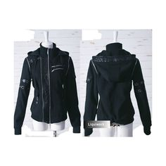 Black Hooded Jacket w Zippers   Buckles cbabe4fb13