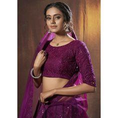 Purple soft net sequence thread work ceremonial lehenga choli Bollywood Lehenga, Bridal Lehenga Choli, Silk Lehenga, Indian Lehenga, Indian Dresses, Indian Outfits, Western Outfits, Indowestern Lehenga, Sabyasachi Lehengas
