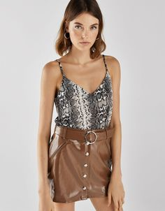 Strappy top - Bershka  newin  trend  trendy  cool  fashion  product  moda   tendencia  new  nuevo  aw18  autumn  winter  snake  snakeskin  serpiente   print ... 6f9fd76f39c
