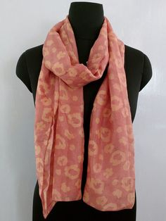Floral Pattern Pink and Peach Pure Silk Stole - Vegetable Dyed Batik Silk Stole