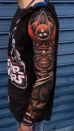 Traditional Japanese Tattoo Sleeve, Japanese Tattoo Sleeve Samurai, Koi Tattoo Sleeve, Japanese Tattoo Designs, Full Sleeve Tattoos, Tattoo Sleeve Designs, Buddha Tattoo Design, Skull Tattoo Design, Kanji Tattoo