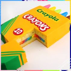 Crayon Box CAKE I want it for my birthday already Cake Decorating Videos, Cake Decorating Techniques, Cookie Decorating, Baking Recipes, Cake Recipes, Dessert Recipes, Creative Cakes, Creative Food, Cake Hacks