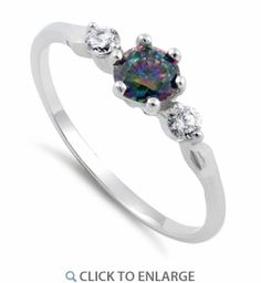 Sterling Silver Rainbow Topaz Pear Cut CZ Ring