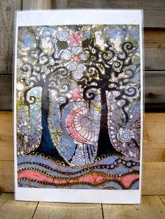 Alive at Night  an Urban Affair   11x17 Batik Art by Batikwalla, $20.00