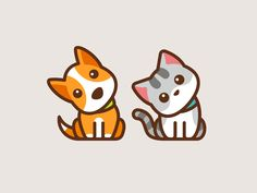 Confused Dog & Cat designed by Alfrey Davilla Cartoon Dog, Cute Cartoon, Logo Gato, Totoro, Cute Dog Drawing, Cat Drawing, Logo Animal, Dog Icon, Dog Illustration