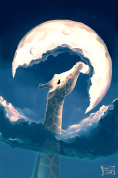 A gorgeous Photoshop illustration of a giraffe that is so tall it can eat the moon http://mayhemandmuse.com/cute-and-creative-photoshop-illustrations-by-cyril-rolando/