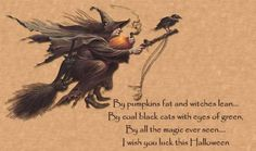 By pumpkins fat and witches lean. By coal black cats with eyes of Green, By all the magic ever seen. I wish you luck this Halloween. Halloween Poems, Vintage Halloween Images, Samhain Halloween, Theme Halloween, Halloween Pictures, Halloween Signs, Halloween Cat, Holidays Halloween, Happy Halloween