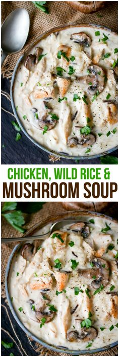Quick & easy weeknight dinner - Chicken, Wild Rice & Mushroom Soup - Hearty, comforting soup that will fill your belly and warm your soul! A crowd-pleasing favorite. Crockpot Recipes, Chicken Recipes, Cooking Recipes, Healthy Recipes, Diet Recipes, Hearty Soup Recipes, Recipe Chicken, Sopas Light, Mushroom Soup