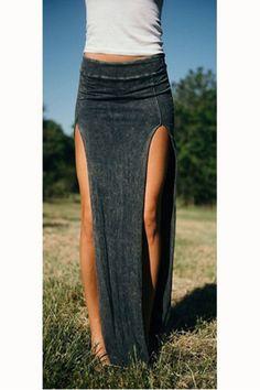 Split Bodycon Irregular Slim Long Skirt