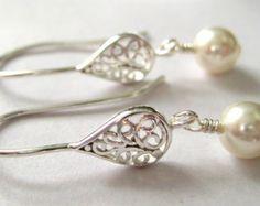 White pearl earrings, Sterling Silver, Swarovski pearl earrings, Silver filigree earrings, Wedding jewelry, Christmas gift, bride bridesmaid