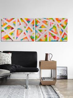 Diptych painting Abstract modern one of a kind by PooviArtGallery