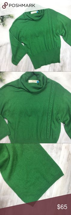 Sparrow   Anthropologie Green Sweater EUC turtleneck sweater with one stylish line of pretty stitching down the left side. Wide sleeve concept and has a tighter fit at the waist. Tag size L, but fits like a M (listed accordingly). No flaws, in mint condition.  Fabrication: 30% nylon, 25% wool, 25% rayon, 20% polyester  Bust: 19 inches Length: 23 inches  *All measurements are approximate and taken of the garment laying flat. Anthropologie Sweaters Cowl & Turtlenecks