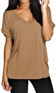 c88ebc7bd470 Womens Baggy Oversized Loose Fit Turn up Sleeve Ladies V Neck Top T shirt 8-