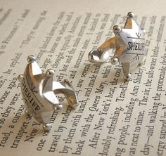 Cool Stuff We Like Here @ Cool Pile, The Home of Coolest Cufflinks Around => http://CoolPile.com/tag/cufflinks ------- << Original Comment >> ------- Sheriff  Cufflinks by StoneLiliesJewellery on Etsy, $22.50