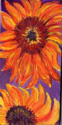 Red Sunflower Original  3 x 6 little  painting by SharonFosterArt, $27.50