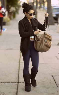 vanessa hudgens wearing a comfortable outfit.