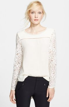 Rebecca Taylor Long Sleeve Lace Mix Top available at #Nordstrom