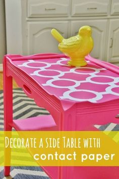 Table top made from contact paper. Easy DIY side table project