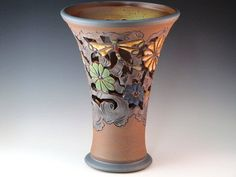 Large Trumpet Vase With Flowers And Dragonflies