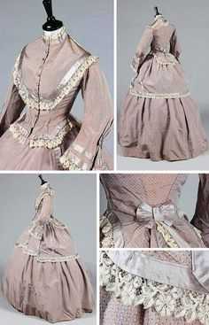 A pink/gray changeable silk reception gown, ca. 1870, the bodice trimmed with ivory lace and gray satin with bell-shaped sleeves, faceted glass buttons, with matching skirt and overskirt. Kerry Taylor Auctions/Artfact