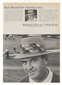 Golfer Sam Snead Mallory Straw Hats Photo (1963), #golf, #SamSnead