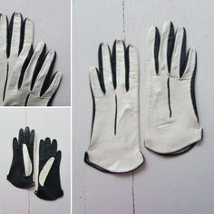 1950s gloves   vintage gloves   vintage leather gloves   two-toned navy blue and white leather driving gloves   small   The Montego Gloves by VivianVintage8 on Etsy