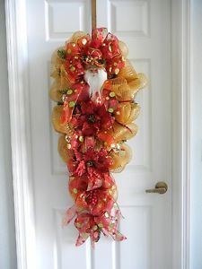 swags wreaths christmas   Details about Christmas Grand Santa Swag Teardrop Wreath Red and Gold ...