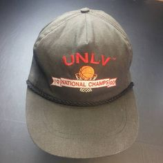 Vintage Vintage UNLV Running Rebels 1991 NCAA Mens Basketball Champions  Black Dad Hat wirh Rope Size. Grailed eef172fa2