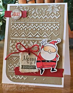 handmade Christmas card from Scrappity-Doo-Da ... lots of texture ... luv the white stencil paste winter sweater pattern background ... white canvas tag stamped with the sentiment ... fun Santa image popped on top ...