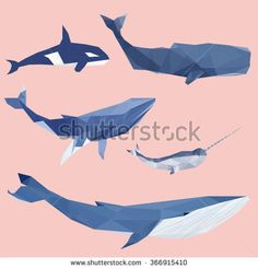 Set of geometric pantone whales isolated on a background vintage design element image