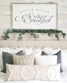 """Bed & Breakfast"" / Farmhouse Style / Rustic / Home Decor / Hand painted / Wood sign / Gifts / Over the bed – rustic home diy Farmhouse Style Bedrooms, Farmhouse Master Bedroom, Farmhouse Decor, Farmhouse Bed Pillows, Modern Bedroom, Rustic Bed Pillows, Khaki Bedroom, Modern Farmhouse, Bedroom Black"