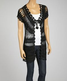 Look what I found on #zulily! Black Crochet Short-Sleeve Open Cardigan #zulilyfinds