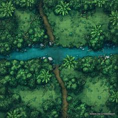The River Crossing - Jungle Battle Map Dnd World Map, Fantasy World Map, Dungeons And Dragons Homebrew, D&d Dungeons And Dragons, Jungle Temple, Forest Map, Pathfinder Maps, Pen & Paper, Rpg Map