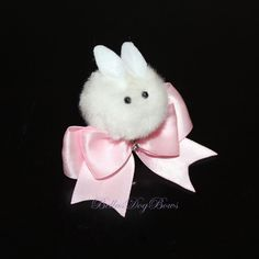 7/8 Easter Bunny on Double Satin Bow with Swarovski Crystals by BellasDogBows, $12.99 USD