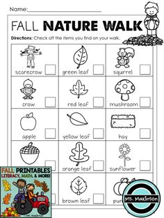 Go OUTSIDE with your class this fall! :) Nature Walk Scavenger Hunt