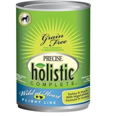 Precise Holistic Complete 13.2oz Wild at Heart Flight Line Turkey and Duck canned dog food features the high-quality proteins found in turkey and duck.    Herbal ingredients, nutritious fruits and vegetables, probiotics, and more good stuff are what dogs need to thrive.    It makes this formula complete nutrition for a lifetime.