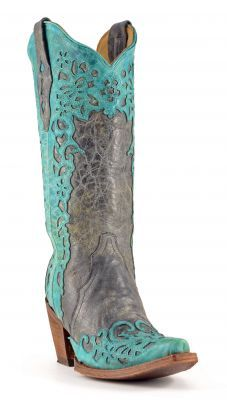Womens Corral Laser Cowboy Boots Black And Turquoise #A2800 #cowgirl #allensboots