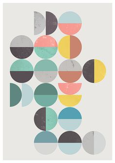 Abstract print, Geometric poster, Minimalist art, Mid century print, Circles pattern, blue violett pink art, abstract art, home decor, Various dimensions