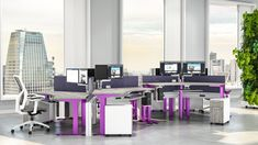 Incorporate pops of your Branding Colors into your open plan workstations along with the health benefits of Sit-Stand Desks with StrongProject's Modern Cubicle Designs!