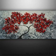 Abstract Modern Landscape Tree Palette Knife Art by Gabriela 48x24 Large, black white red on Etsy, $199.00
