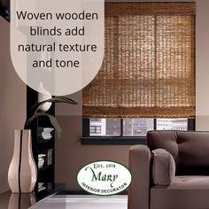 Woven wood shades are a beautiful way to add texture and update your windows from normal slatted blinds. They're made from bamboo, jute, rattan or natural grasses that are woven into a material with natural variation and rich texture. Suitable for a variety of decor styles and perfect for layering. For more information chat to Nikos @ Mary Interior Decorators, Shop 6A Illovo Square Shopping Centre. Call us 011 268 0329. #maryinteriors #window #interiordecorator#blinds #wovenblinds Woven Blinds, Woven Wood Shades, Textures And Tones, Grasses, Natural Texture, Shutters, Jute, Rattan, Decor Styles